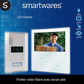 Smartwares Video-Türgegensprechanlage mit flachem Touchscreen-Panel, Farbbildmonitor, VD71W SW -
